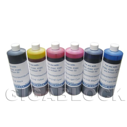 Price comparison product image Gigablock UV Dye based 6 Bulk Pint(470ml x 6 bottles) inks of Refill Ink Set for CIS System Epson R260, R280, R380, RX580, RX595, RX680 and Artisan 50 - Made in USA