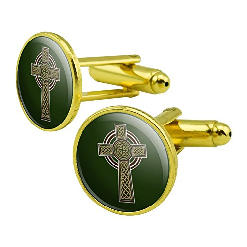 Celtic Christian Cross Irish Ireland Round Cufflink Set Gold Color Celtic Design Cufflinks
