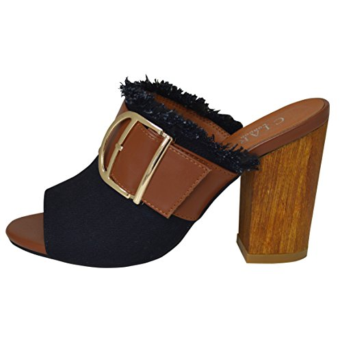 Ladies Summer Denim Block Heel Slip On Mule Casual Sandal Black M5Dv8vriW