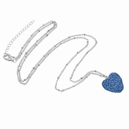 GUAngqi Gemstone Necklace Stone Heart Pendant Crystals Necklace for Women Girls Gifts,Silver