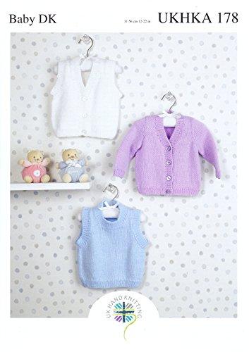 UKHKA Double Knitting DK Pattern - Baby Ribbed Detail Slipover Waistcoat & Cardigan 178