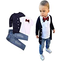 Toddler Baby Boy Clothes Sets Gentleman Long Sleeve Bowtie T-Shirt Tops+Coat+Pants Outfits Suit