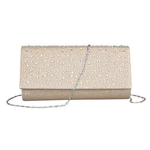 Women Rhinestone Clutch Purse Handbag Crystal Evening Bag Wedding Party Prom Purse. (Gold-1)