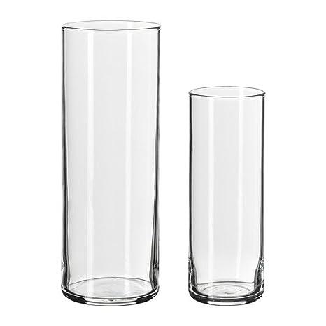 Ikea Cylinder Vaso Set Con 2 Vetro Trasparente Amazon It Casa E