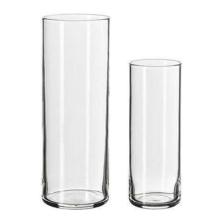Ikea Cylinder Vase Set Of 2 Clear Glass Amazon Kitchen
