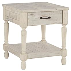 Bedroom Signature Design by Ashley Shawnalore Farmhouse Solid Pine Wood End Table, Weatherworn White Finish farmhouse nightstands