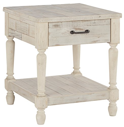 Signature Design by Ashley - Shawnalore Casual End Table w/ Storage Shelf Base, Whitewash Wood (Sets Furniture White Oak Bedroom)