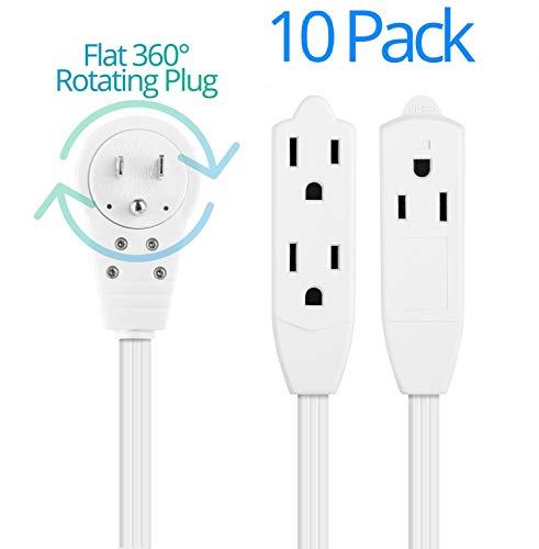 Maximm Cable 1 Ft 360° Rotating Flat Plug Extension Cord/Wire, 12 Inch Multi Outlet Extension Wire, 3 Prong Grounded Wire - White - 10 Pack, UL ()