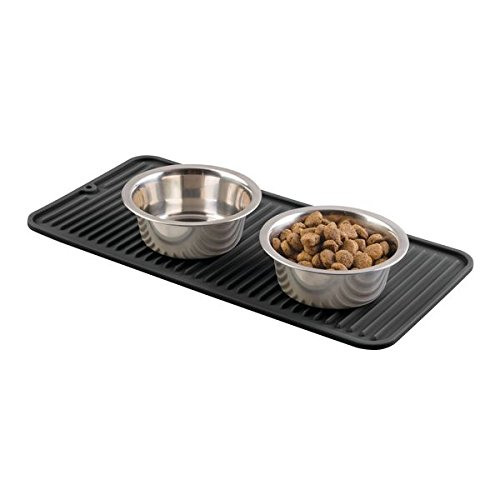 mDesign Premium Quality Pet Food and Water Bowl Feeding Mat for Dogs and Puppies - Waterproof Non-Slip Durable Silicone Placemat - Food Safe, Non-Toxic - Black
