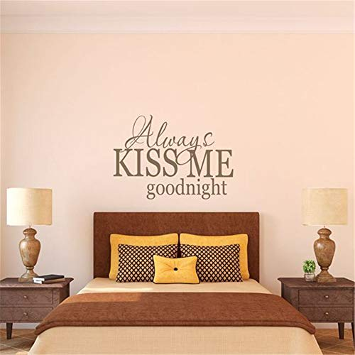 (Cuikie Stickers Vinyl Wall Art Decals Letters Quotes Decoration Always Kiss Me Goodnight for Master Room Nursery Kids RoomFor Nursery Bedrom)