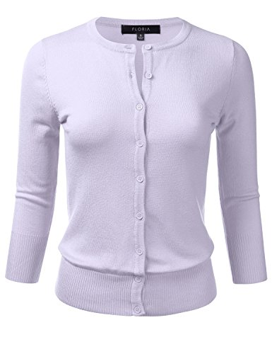 FLORIA Womens Button Down 3/4 Sleeve Crew Neck Knit Cardigan Sweater (S-3XL)