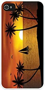 lintao diy Rikki KnightTM Silhouette Boat Palm Trees on Sunset Design iPhone 5 & 5s Case Cover (White Rubber with bumper protection) for Apple iPhone 5 & 5s
