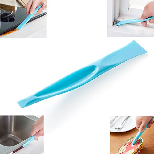 Eunion Blue Plastic Multipurpose Stiff Scraper Scratch Free Cleaning Tool Label Scraper Gum Scraper Bottle Opener Can Opener, 3 Pack