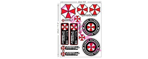 1 A4 sheet with 13x Umbrella Corporation Sticker Decal Car Truck Notebook Resident Evil Raccoon City Zombie The walking Dead