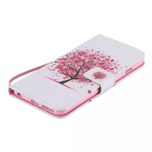 iPhone 6 Plus / 6S Plus 5.5 inch Coque , Apple iPhone 6 Plus / 6S Plus 5.5 inch Coque Lifetrut® [ Coeur Arbre Rouge ] [Emplacement de carte] Pu Leather Flip stand Portefeuille Housse anti-rayures avec