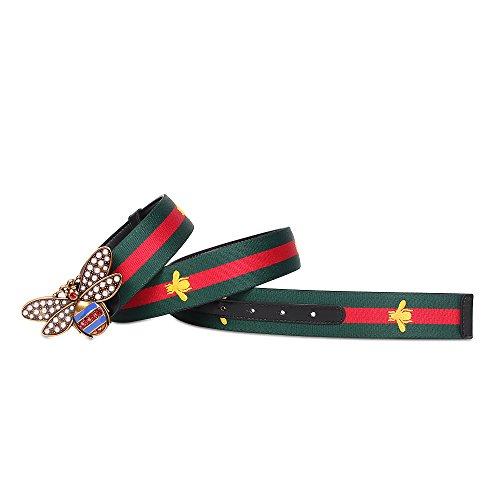 Replica Leather Belts - Beatfull Designer Belt for Women, Genuine Leather Bee Buckle Web Beltsh (125cm, Green-red)