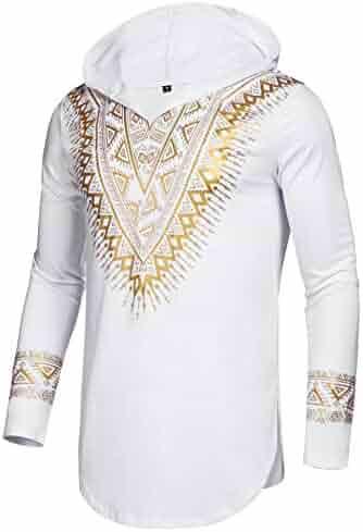 72f23a2c2d549 Pacinoble Mens African Dashiki Shirt Metallic Floral Printed Slim Fit Long  Sleeve Sleeveless Shirts Blouse