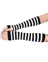 Kingfansion Women Men Striped Winter Wrist Arm Hand Warmer Knitted Long Fingerless Gloves Mitten (White)