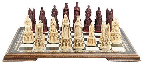 Medieval Cathedral Themed Chess Set - 5.25 Inches - In Presentation Box - Handmade in UK - Ivory and Burgundy