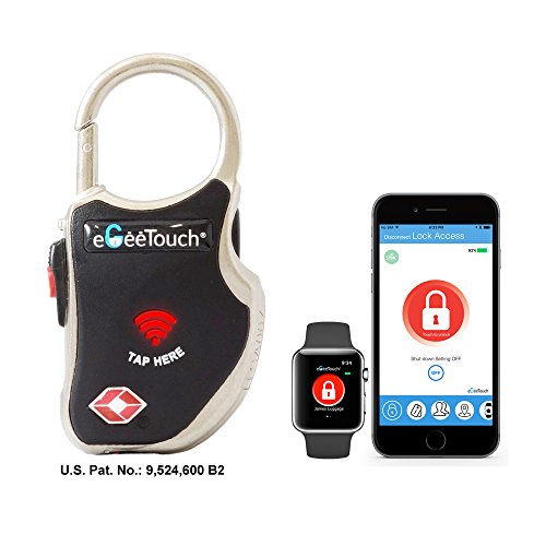 eGeeTouch Smart TSA Luggage Lock with Patented Dual Access Tech, NFC + Bluetooth, Vicinity Tracking (Black) eGeeTouch®