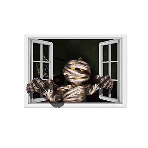 OmkuwlQ DIY Halloween 3D Wall Sticker Mummy Wall Decal Decor Scary Ghost Poster Window Art Mural Decor]()
