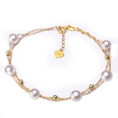 Japanese Fashion akoya Pearl 18K Gold Double Pillow Bracelets Women Fashion Jewelry B17214 (Gold)