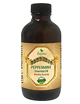 PEPPERMINT ESSENTIAL OIL 4 OZ Organic Therapeutic Grade A Wellness Relaxation 100% Pure Undiluted Steam Distilled Natural Aroma Premium Quality Aromatherapy diffuser Skin Hair Body Massage