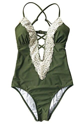 Nykkola Solid Lace Crochet Deep V Neck One Piece Swimsuit With Back Cutout Bikini Set Swimwear Monokini  Olive Green  S Us 4 6