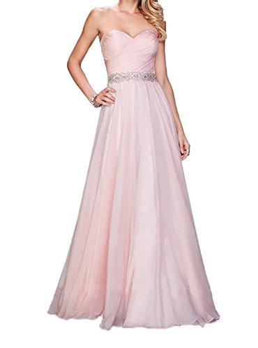 Festliche Charmant Chiffon Rosa Jugendweihe Steine Lang Rosa mit Kleider Kleider Abendkleider Damen Ballkleider rr7TwYq