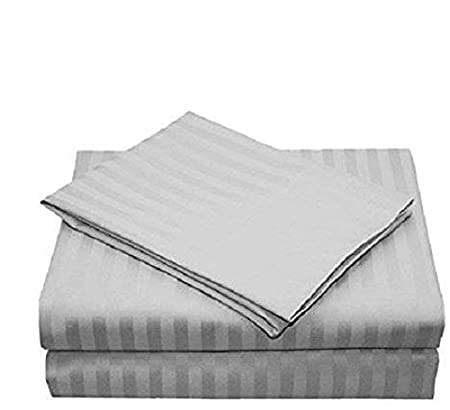 Both Pattern Solid/Stripe 1-Piece- Fitted- Sheet with 21-25 inches Extra Fit Deep Pocket Hotel Finish Adjustable Room 1200 Thread Count 100% Egyptian Cotton (Cal-King, Stripe, Light Grey). Scala
