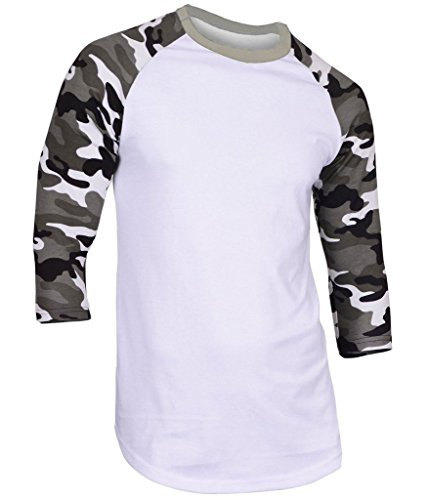 Hat and Beyond Mens Raglan 3/4 Sleeve T-Shirts Baseball Fitted Plain Mens Womens 5oz (2X-Large, 1RD3401 White/White Camouflage)