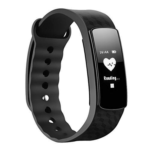Fitness Tracker, Mpow Heart Rate Monitor Smart Fitness pulseras pulsera de actividad Podómetro Sleep Tracker pantalla táctil impermeable Smartwatch para Android y iOS Teléfonos Inteligentes como iPhone 7/7 Plus/6S/6/6 Plus/5/5S/Se, Huawei Mate 7/P9, LG, Sony, Negro