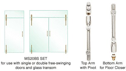CRL Pivot Door System for Use With Single or Double Free-Swinging Doors and Glass Transom - Set
