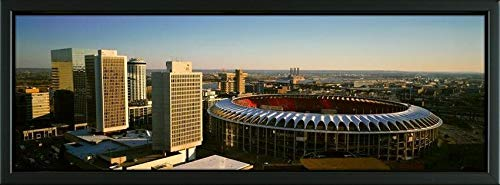 Easy Art Prints Panoramic Images's 'Panoramic View of Busch Stadium and Kansas City Skyline at Sunset, MO' Premium Framed Canvas Art - 24