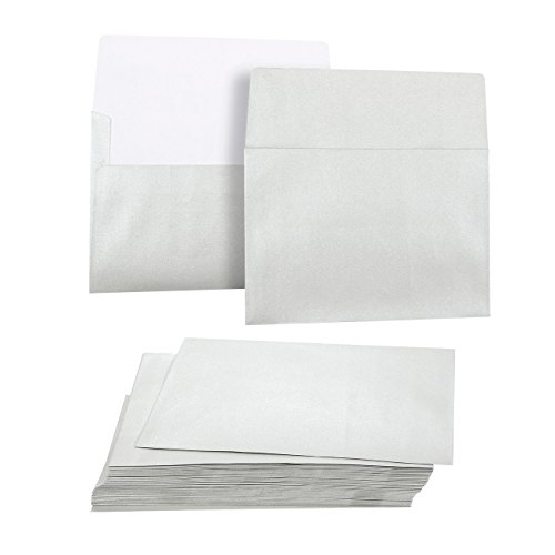 f9e4cb82c16b7 Juvale 50 Pack Metallic Silver A7 Envelopes for 5 x 7 Greeting Cards and  Invitation Announcements