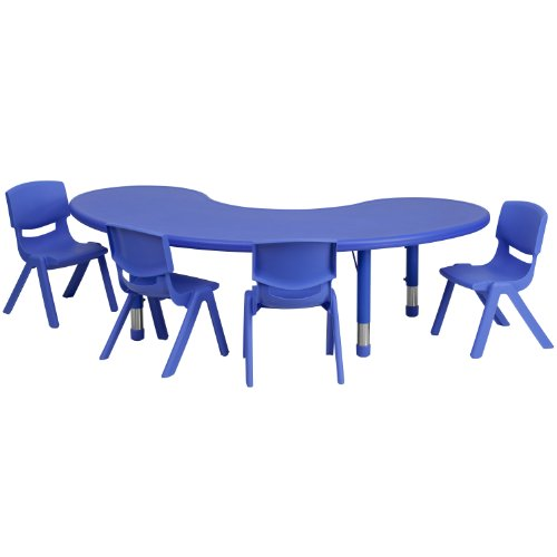 Flash Furniture 35''W x 65''L Half-Moon Blue Plastic Height Adjustable Activity Table Set with 4 Chairs by Flash Furniture
