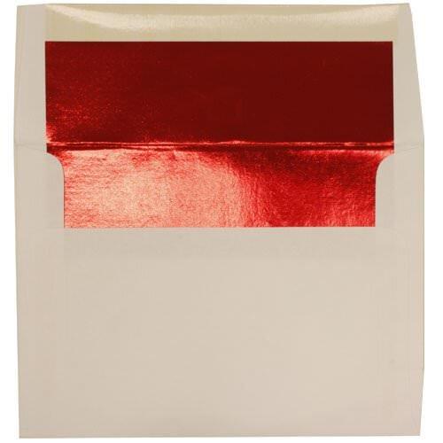 JAM Paper® A9 (5 3/4 x 8 3/4) Foil Lined Invitation Envelopes - White with Red Foil Lining - 50 envelopes per pack
