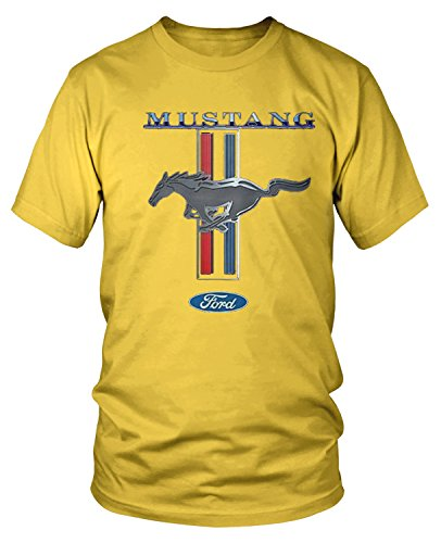 Amdesco Men's Officially Licensed Ford Mustang Pony Emblem T-Shirt, Yellow XL