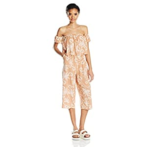 MINKPINK Women's Nusa Dua Printed Off Shoulder Jumpsuit