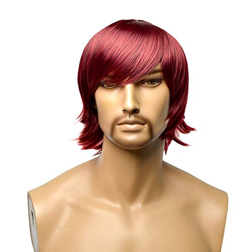 GOOACTION Wigs for Men Lace Front Wig Short Hair Men's Wigs Wine Red Charming Synthetic Hair Replacement Heat Resistant Fiber Male Costume Wig ()