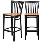 Modern Style Dining Bar Stools Pub Lounge Diner Restaurant Commercial Seats Vertical School House Back Design Black Powder Coated Frame Finish Home Office Furniture - Set of 5 Natural Wood Seat #2232