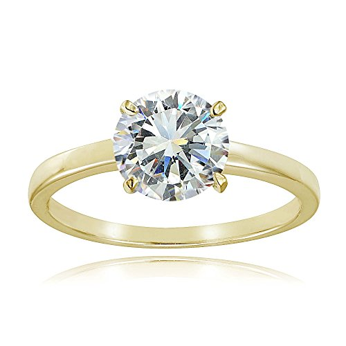 (Hoops & Loops Yellow Gold Flash Sterling Silver 2ct Cubic Zirconia 8mm Round Solitaire Ring)