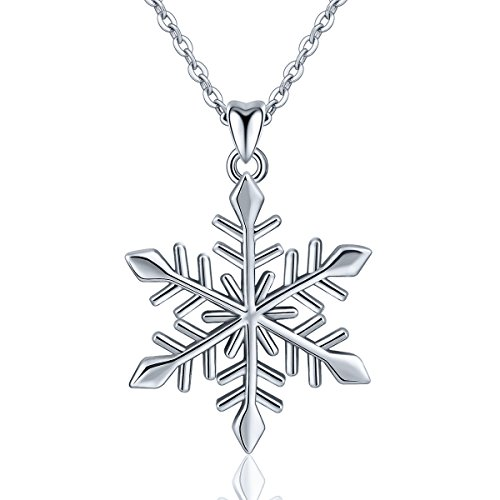 EUDORA Sterling Silver Snowflake Pendant Necklace Elegant Snow Gift for Women, 18