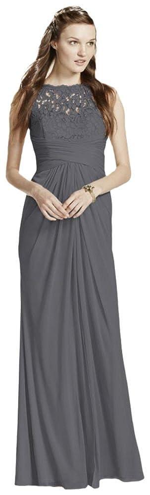159ca755c4c David s Bridal Sleeveless Long Mesh Bridesmaid Dress with Corded ...