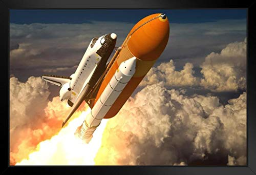 Space Shuttle Launch Blasting Through Clouds Rendering Photo Framed Poster 20x14 inch (Space Shuttle Launch)