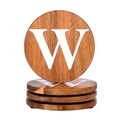 Personalized Gifts Round Coaster Natural Acacia Wood Wooden Coaster Set of 4 for Drinks in Office, Home and Cottage, Bar, Restaurant, Wine Glasses, Cups& Mugs, Customizable with Name ()