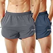 TENJOY Men's Running Shorts Gym Athletic Workout Shorts for Men 3 inch Sports Shorts with Zipper Po