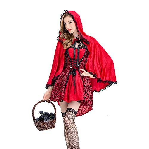 LVLUOYE Cosplay Costume, Halloween Castle Queen, Gothic Little Red Riding Hood Party Performance Costume,M ()