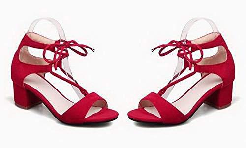Sandales Correct Rouge Lacet Femme Talon Couleur Unie TSFLH007728 Dépolissement à AalarDom 6I87xwqw