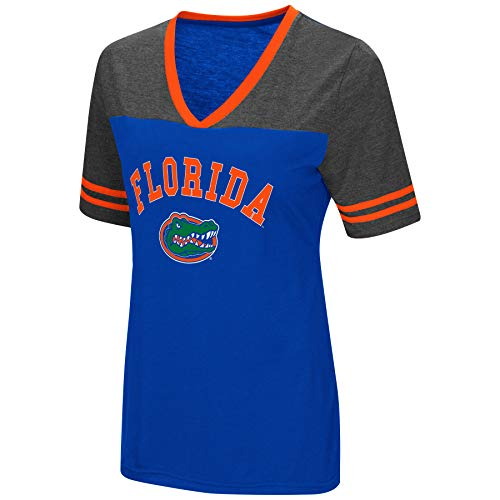 Colosseum Women's NCAA Varsity Jersey V-Neck T-Shirt-Florida Gators-Blue-Large